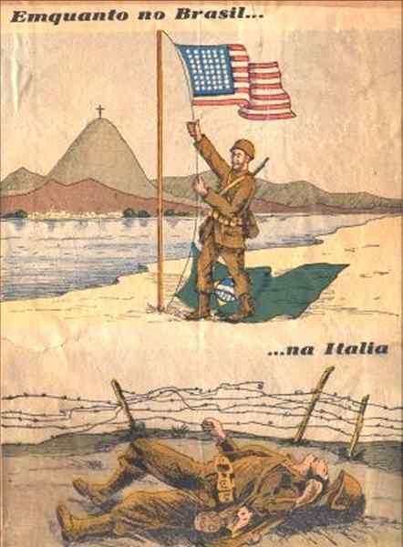 Poster alemão para tentar desmotivar os Brasileiros na Segunda Guerra Mundial.
