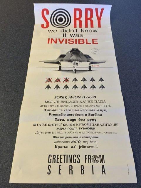 Cartaz de propaganda sérvio sobre o abate do F-117