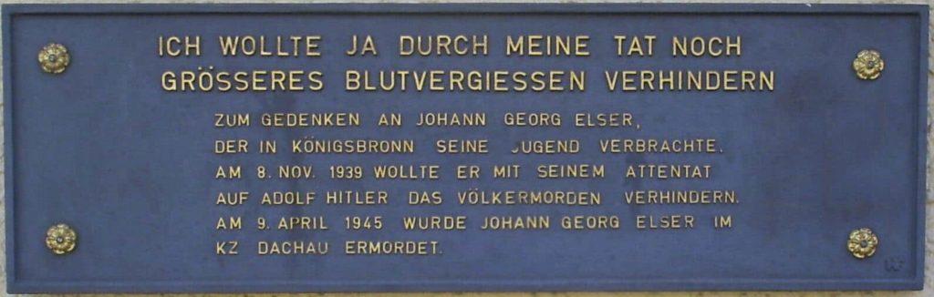 Uma placa em memória a Johann Georg Elser - Fatos Militares.