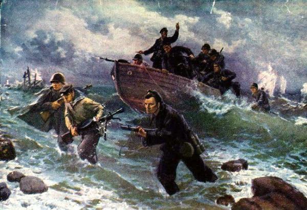 Marines soviéticos desembarcando na península da Criméia