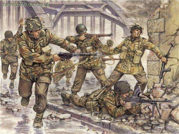Paraquedistas británicos Diabos vermelhos na ponte de Arnhem