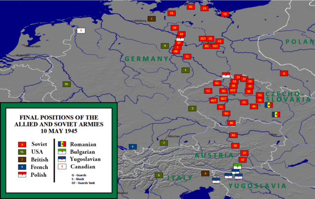 Posições do exército aliado na Europa Central em 10 de maio de 1945.