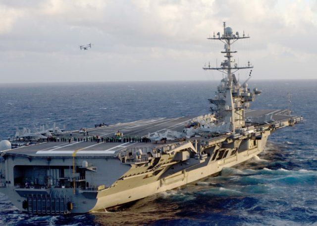 Departing from USS Harry S. Truman flight deck