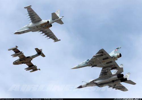 Cessna A-37B Dragonfly, Sukhoi Su-25 Frogfoot, Mirage 2000, e Mikoyan-Gurevich MiG-29 da FAP