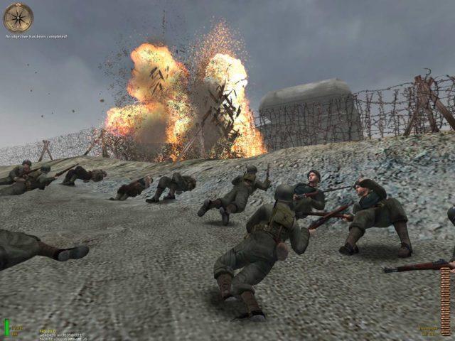 O jogo Medal of Honor:Allied Assault simula o ataque na praia de Omaha na terceira missão.