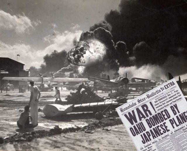 Bombardeio à uma pista de pouso americana em Pearl Harbor e o jornal avisando sobre o ataque - Fatos Militares