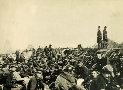 Soldados do Norte dos EUA acampados durante a Guerra Civil Americana