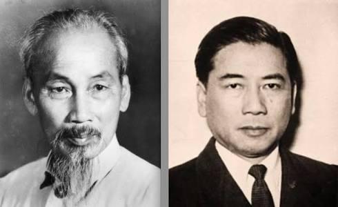 Ho Chin Minh, líder do Vietnã do Norte, e Ngo Dinh Diem, líder do Vietnã do Sul.