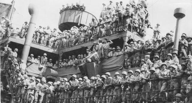 Soldados Brasileiros indo para a Segunda Guerra Mundial