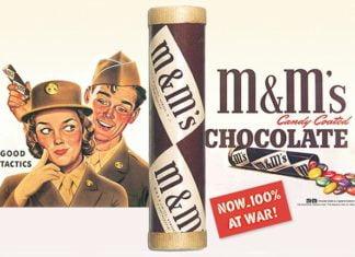 Campanha dos chocolates M&Ms durante a Segunda Guerra Mundial