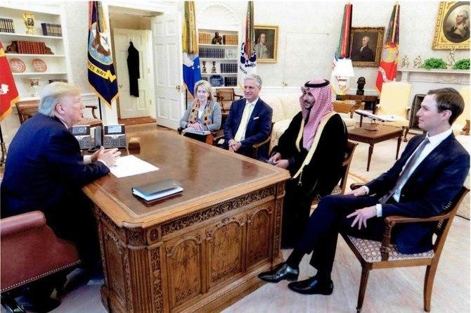 Tump e Jared em uma reunião com o Princípe saudita Khalid Bin Salman
